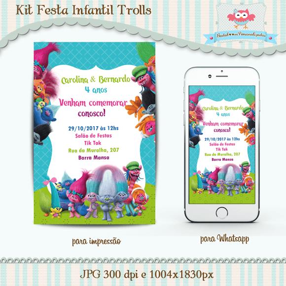 Badaboom Personalizados  Kit Convite Infantil Trolls