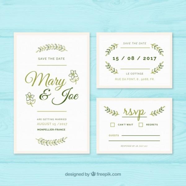 Molde De Convite De Casamento Com Elementos Verdes