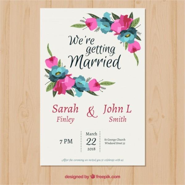 Molde De Convite De Casamento Com Flores Poligonais