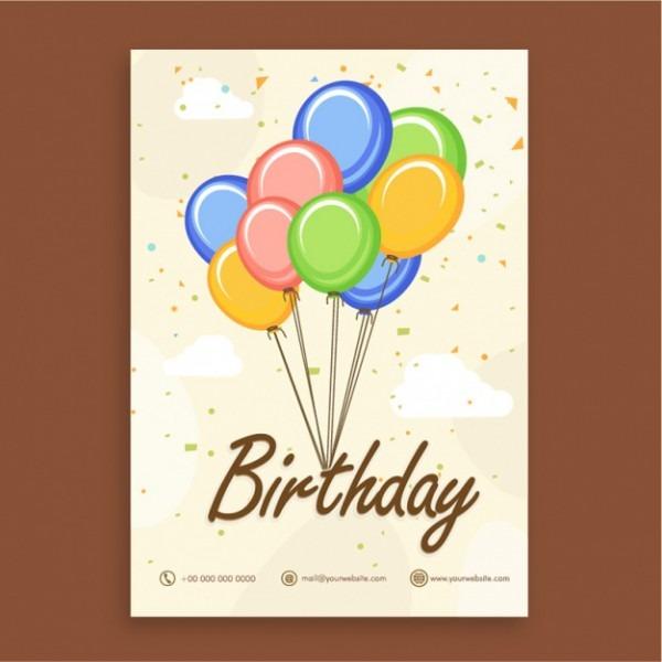 Molde Do Convite Do Aniversário Com Balões E Confetes