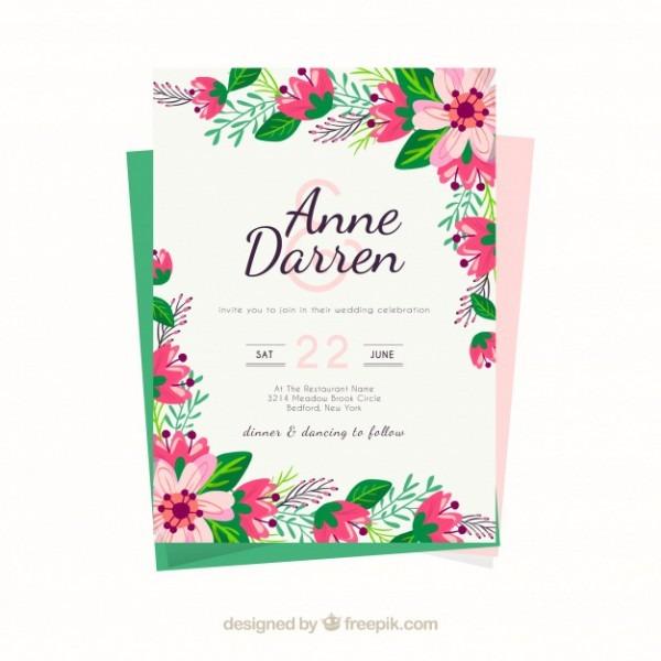 Molde Do Convite Do Casamento Com Flores Bonitas