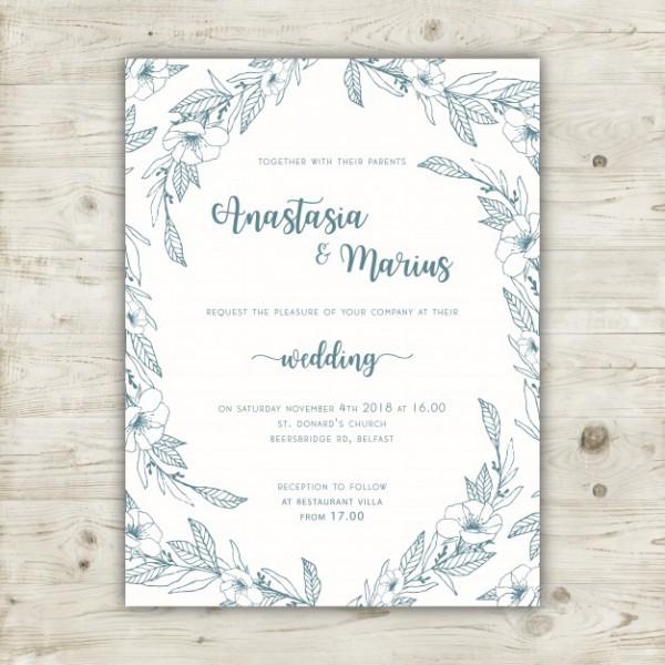 Molde Floral Elegante Do Convite Do Casamento