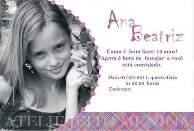 Ateliê Jeito Menina  Convite De Aniversário De 12 Anos Da Ana Beatriz