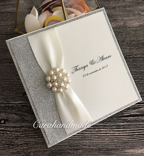 Prata Luxo Convites De Casamento Com Fita E Enfeite De Cristal