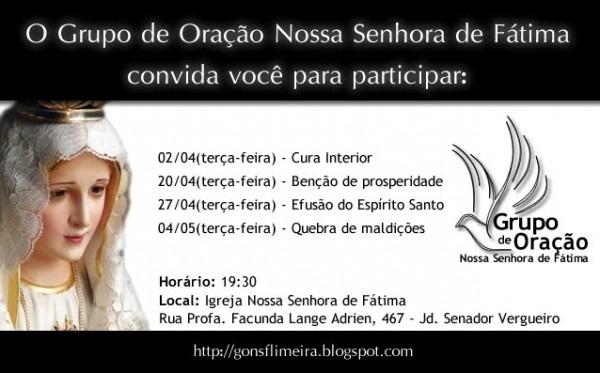 Convite Para Liberatação E Cura Interior ~ Comunidade Missão Fátima