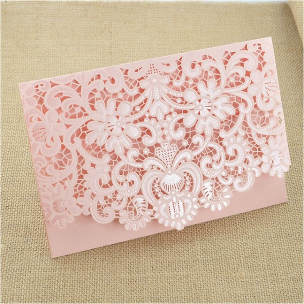 Rosa Convites De Casamento Oco Convite Com Envelope De Impressão