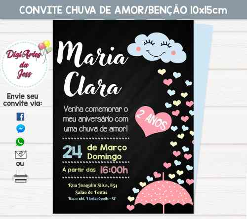 Convite Digital De Aniversário Chuva De Amor