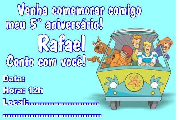 Scooby Doo Convite Aniversário No Elo7