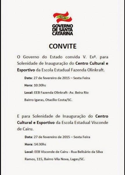 Convite Do Governador Do Estado De Santa Catarina