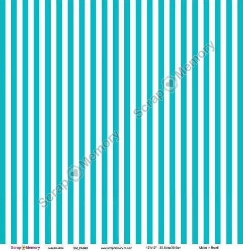 Listras Papel Para Scrapbook ''azul Turquesa''
