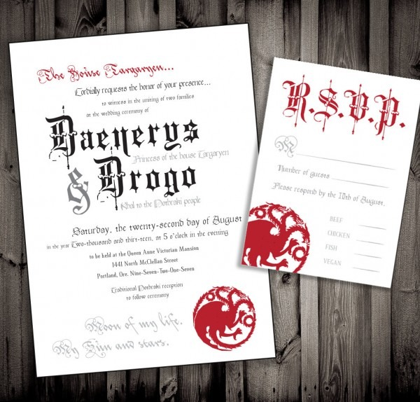 The Perfect Wedding Invite For Game Of Thrones Fans    Fooyoh