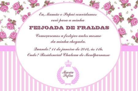 O Que Escrever No Convite Cha De Fraldas  Tamanho, Marca