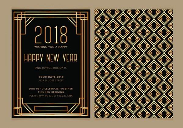 Convite Do Ano Novo Do Art Deco Do Vetor Convida