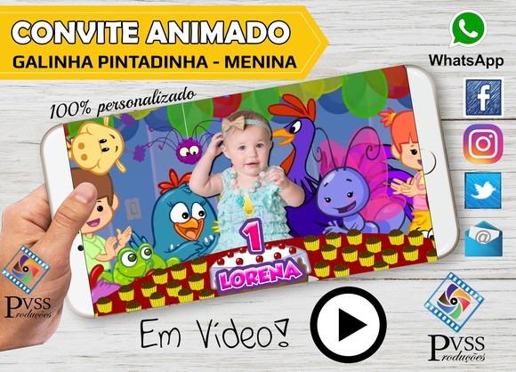 Video Convite Animado Virtual Galinha Pintadinha Menina