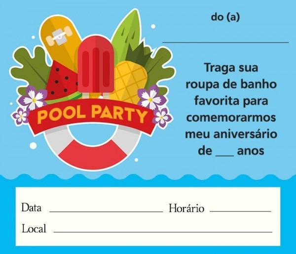Convite Pool Party – 12 Modelos Para Festa Na Piscina! – Modelos