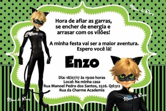 Convites Ladybug Com Cat Noir E Fundo Verde