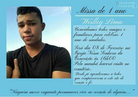 Convite Missa De 1 Ano De Falecimento De Weslley De Sousa Lima