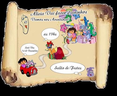 Convite Tema Mapa Dora Aventureira