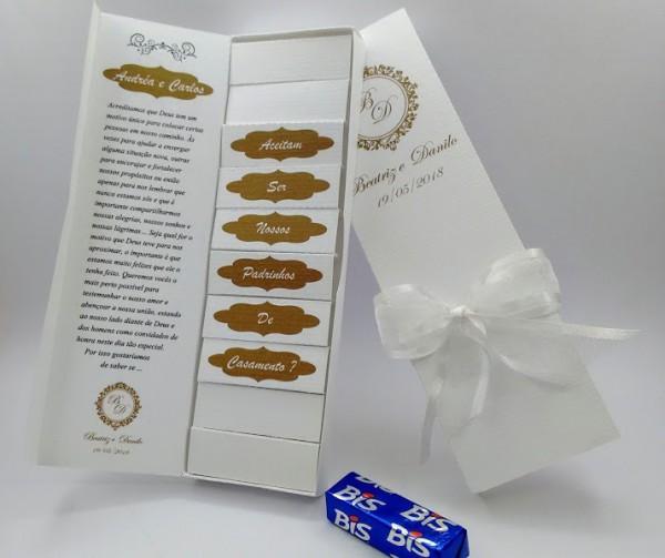 10 Convite Caixa De Bis Para Padrinhos De Casamento