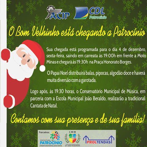 Convite Chegada Do Papai Noel E Cantata De Natal – Olha O Passarim