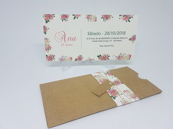 Convite De 15 Anos Rosa Envelope Floral