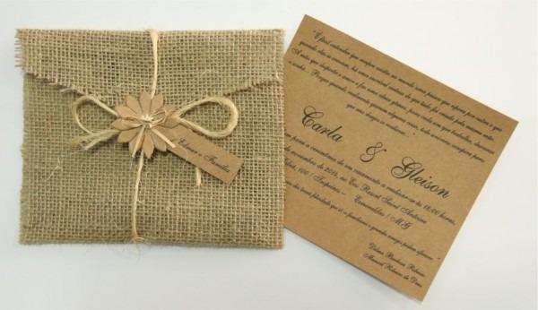 15 Convites Padrinho Casamento Rustico