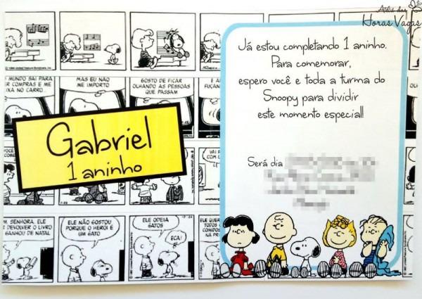 Convite Aniversário Artesanal Snoopy Peanults