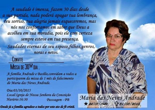Convite Missa De 30 Dias Em Nome De Maria Das Neves Andrade