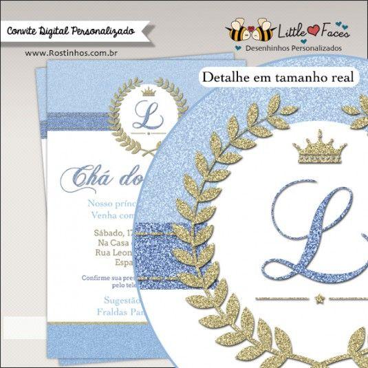 Convite Chá De Bebê Provençal Dourado E Azul Príncipe Para