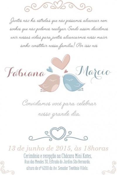 Arte Para Convite De Casamento Love Birds  3 Apenas R$55,00