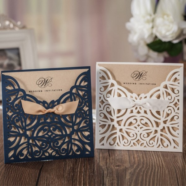 2017 Royal Blue White Laser Cut Wedding Invitations Cards Evening