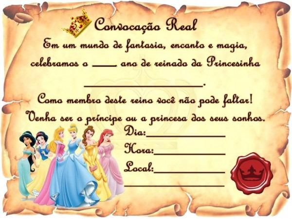 20 Convite Princesas Disney Pergaminho Pronta Entrega