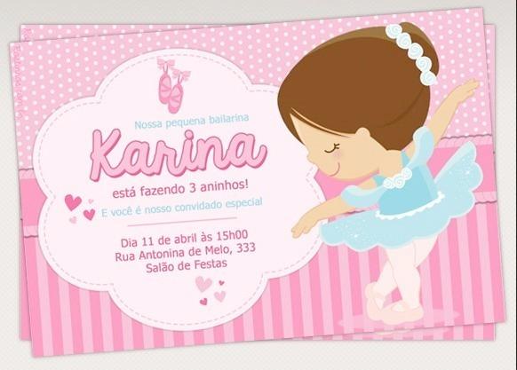20 Convites Para Aniversario Infantil   Bailarina