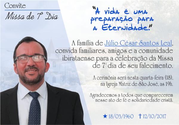 Ibirataia  Convite Para Missa De Sétimo Dia Do Falecimento Do Ex