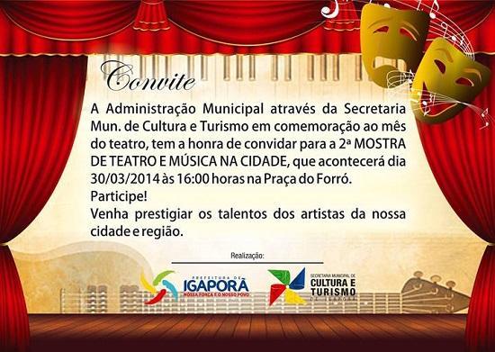"""Caetfest   Notícias   Convite  """"2ª Mostra De Teatro E Musica Na"""