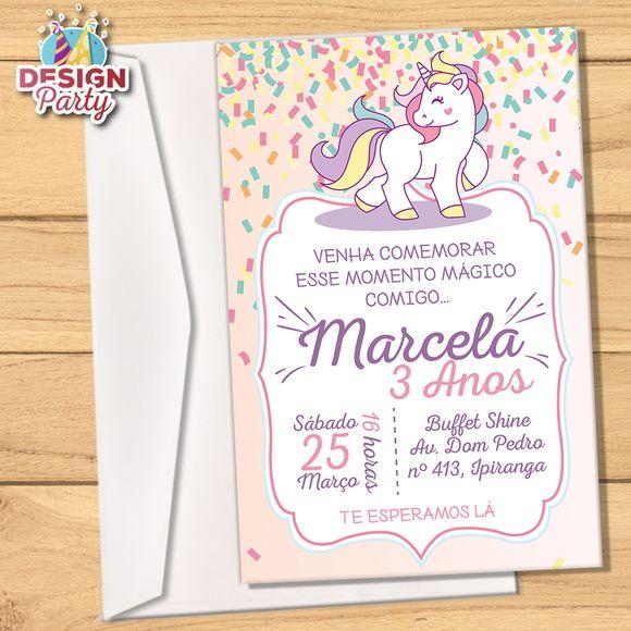 Convite Impresso Unicórnio Fitas