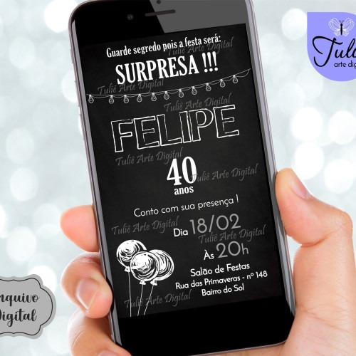 Convite Aniversário Adulto Surpresa Digital Na Rededots Com Br