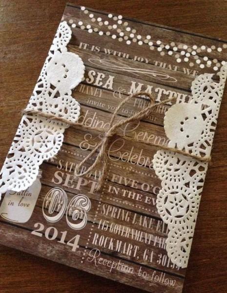 Rustic Wedding Invitation Set, Barn Wedding Invitation, Country