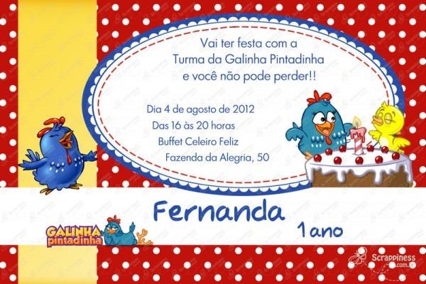1 Ano – Convite Galinha Pintadinha