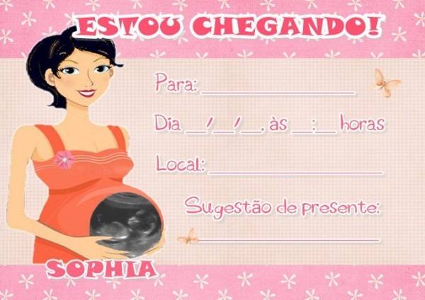 Lucii Artes Personalizadas  Convite Chá De Bebê Sophia (da Kelynha)