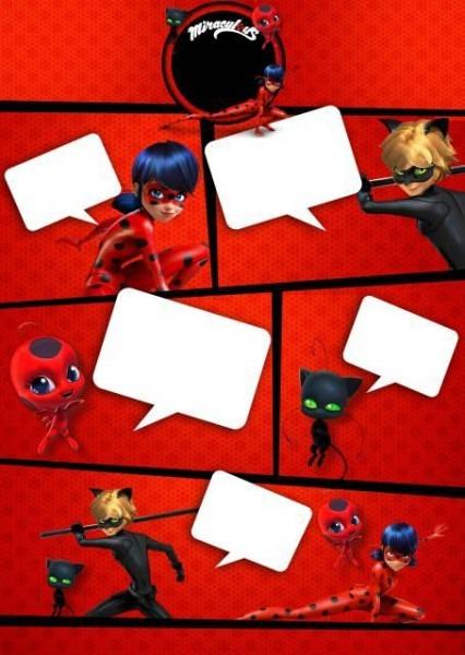 Convites Ladybug Com Cat Noir Para Imprimir Grátis No Estilo Gibi