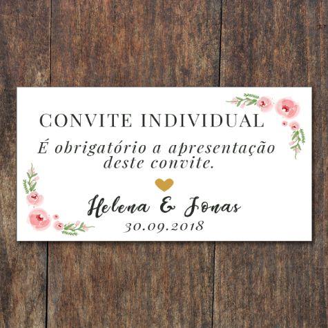 Convite Individual Floral Aramado