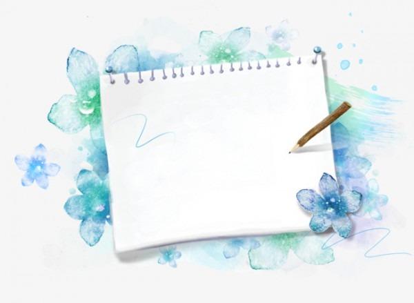 Flores Azuis Em Um Envelope Papel De Carta Convite Escrever