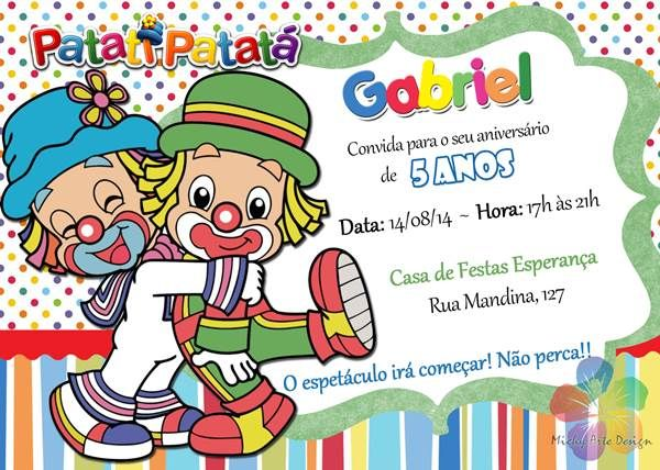 Convite De Aniversário Do Patati Patatá – Convite Infantil