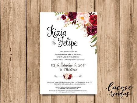 Arte Para Convite De Casamento Floral Marsala 02