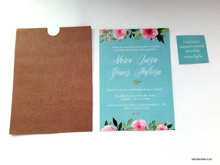 Convite 15 Anos Azul Tiffany Com Envelope Luva E Convite