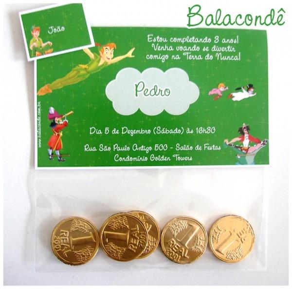 Convite Peter Pan Moedas