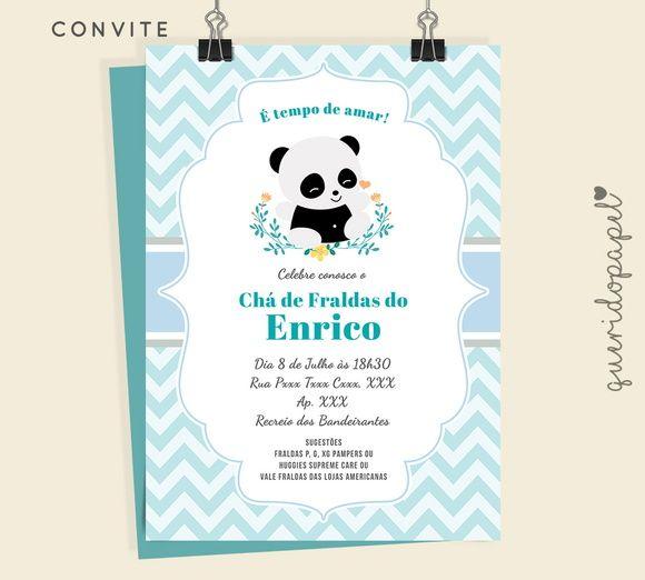Urso Panda, Convite Panda, Chá De Bebê Panda, Ideias Para Chá De