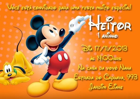 Frases Para Convite De Aniversario De 1 Ano Mickey
