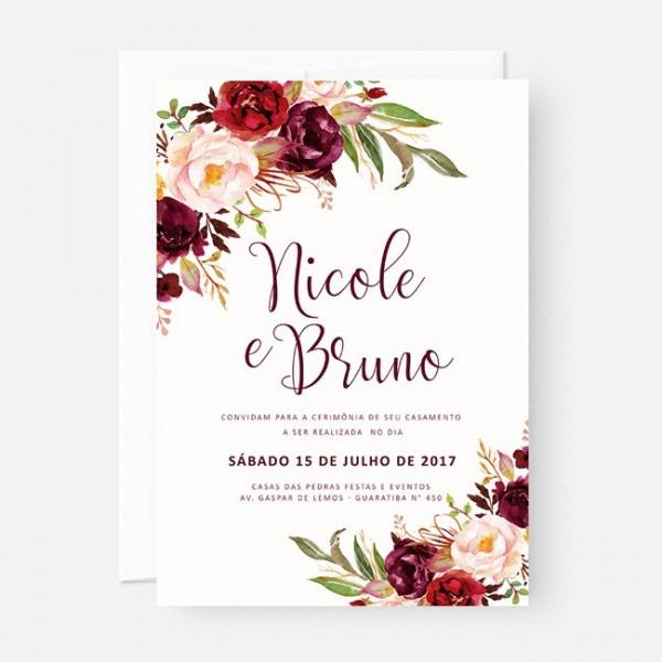50 Convite Casamento Civil Noivado 10x15 S  Envelope Marsala